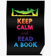 KEEP CALM AND READ A BOOK (RAINBOW) Poster