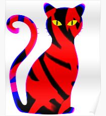 Sly Cat Red Poster