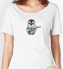 Baby Penguin Playing El Salvador Flag Guitar Women's Relaxed Fit T-Shirt