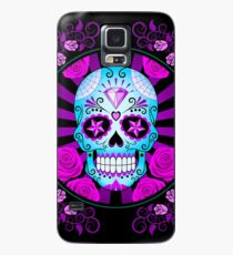 Blue and Purple Sugar Skull with Roses  Case/Skin for Samsung Galaxy