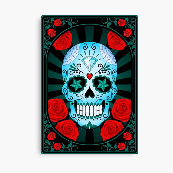 Blue Sugar Skull with Roses  Canvas Print