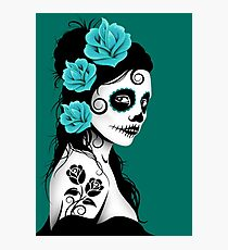 Teal Blue Day of the Dead Sugar Skull Girl Photographic Print