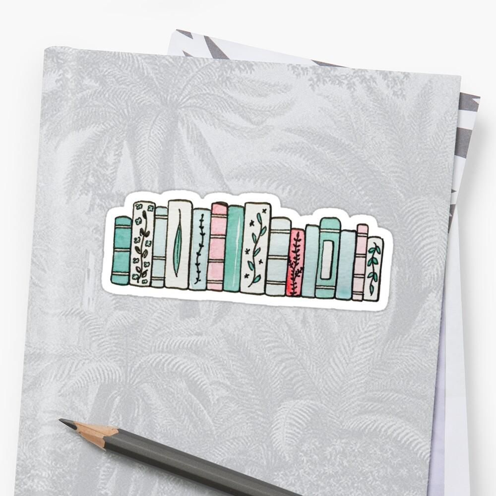 Pastell Bücher Sticker Vorne