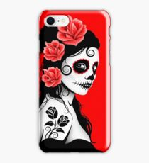 Red Day of the Dead Sugar Skull Girl iPhone Case/Skin