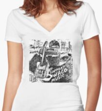 Support Waco Music - White Women's Fitted V-Neck T-Shirt