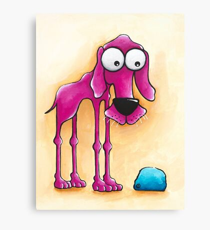 The Pink Dog and his ball Canvas Print