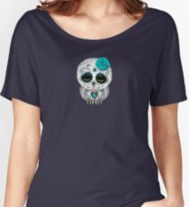 Cute Teal Blue Day of the Dead Sugar Skull Owl Women's Relaxed Fit T-Shirt