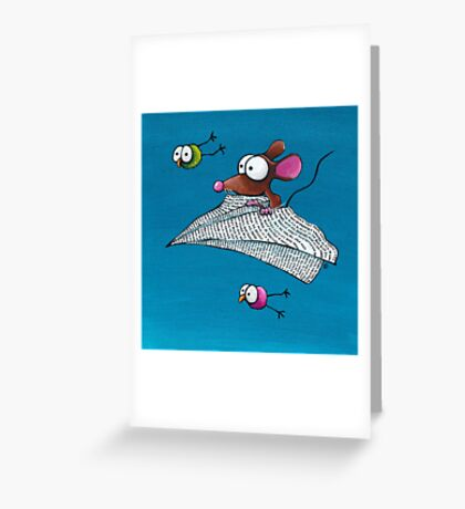 Mouse in a paper aeroplane Greeting Card