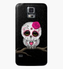 Cute Pink Day of the Dead Sugar Skull Owl Case/Skin for Samsung Galaxy