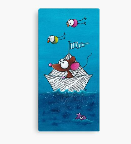 Mouse sails in his paper boat Canvas Print