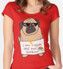 Pug Life - i eat crayons and poop rainbows Women's Fitted Scoop T-Shirt