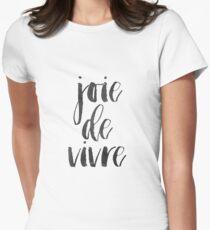 Joie De Vivre druckbare Wandkunst, druckbare Zitat, schwarz-weiß Print, Französisch Zitat Print, Typografie Wand Kunstdruck Tailliertes T-Shirt für Frauen