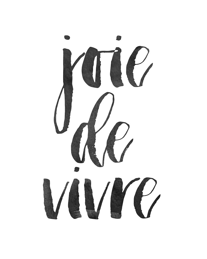 Joie De Vivre Printable Wall Art,Printable Quote, Black White Print,French Quote Print, Typography Wall Art Print by Nathan Moore
