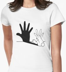 Rabbit Hand Shadow Womens Fitted T-Shirt