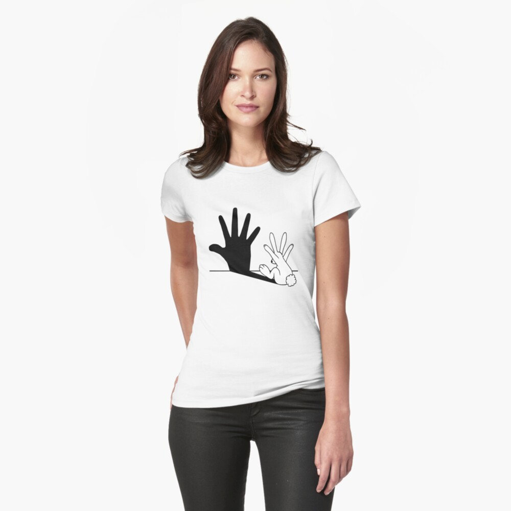 Rabbit Hand Shadow Fitted T-Shirt