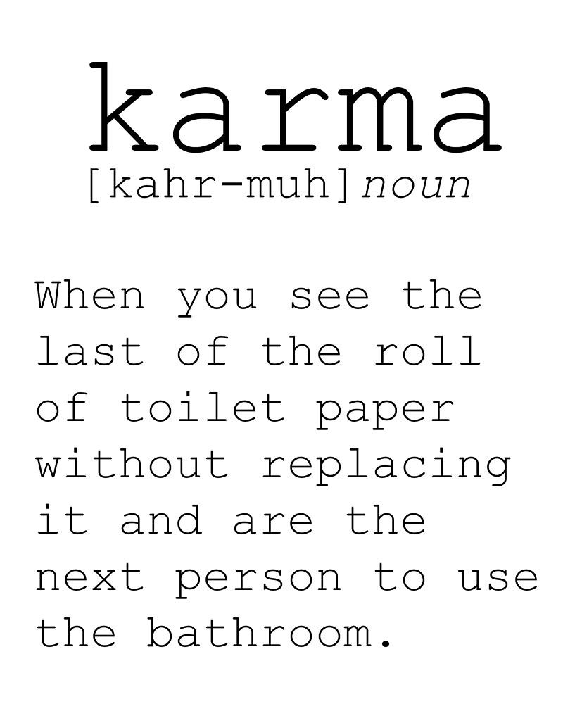 FUNNY WALL ART Definition Print Karma Print Funny Definition Print Poster Karma Definition Print Bathroom Decor Bathroom Poster Karma Poster by Nathan Moore