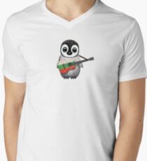 Baby Penguin Playing Bulgarian Flag Guitar Men's V-Neck T-Shirt