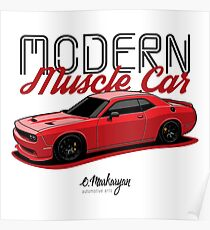Modern Muscle car. Challenger (red) Poster