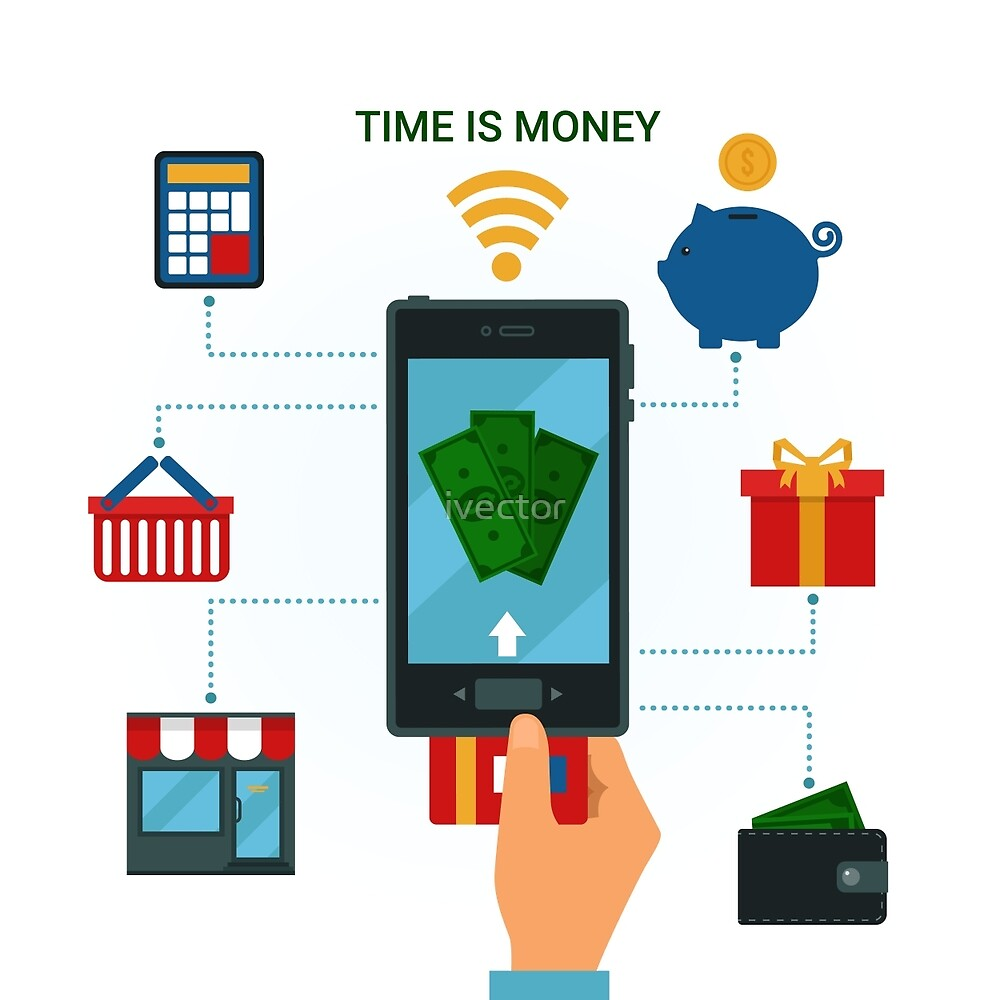 Concept of Mobile Payments or Mobile Banking. Electronic Money Methods by ivector
