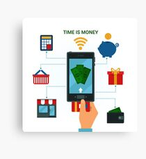 Concept of Mobile Payments or Mobile Banking. Electronic Money Methods Canvas Print