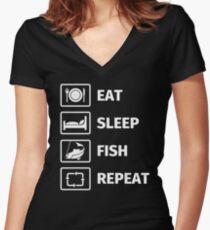 Eat, Sleep, Fish, Repeat Tailliertes T-Shirt mit V-Ausschnitt