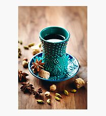 Tea or Different Drink with Spices in Traditional Turkish Glass  Photographic Print