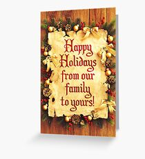 Holiday Parchment Christmas Card - Happy Holidays Greeting Card