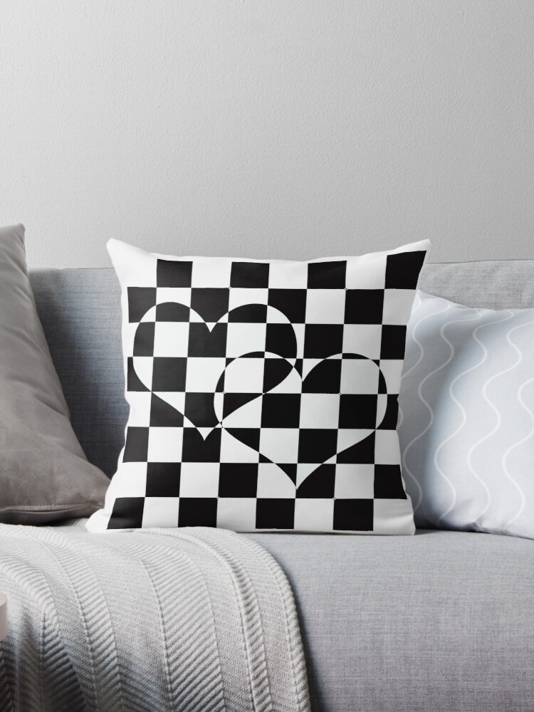 Black and white checkered pattern with hearts. by marinaklykva