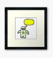 cartoon man in radiation suit Framed Print