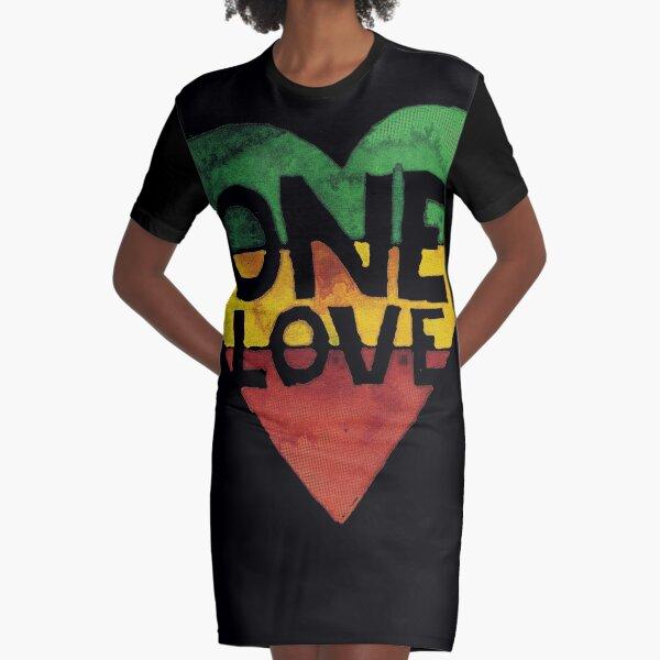 One Love Music Rasta Reggae Heart Peace Roots  Graphic T-Shirt Dress