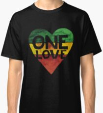 Camiseta clásica One Love Music Rasta Reggae Heart Peace Roots