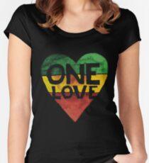 Eine Liebe Musik Rasta Reggae Herz Frieden Wurzeln Tailliertes Rundhals-Shirt
