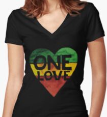 One Love Music Rasta Reggae Heart Peace Roots  Women's Fitted V-Neck T-Shirt