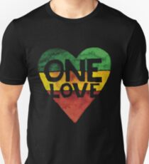 One Love Music Rasta Reggae Heart Peace Roots  T-Shirt
