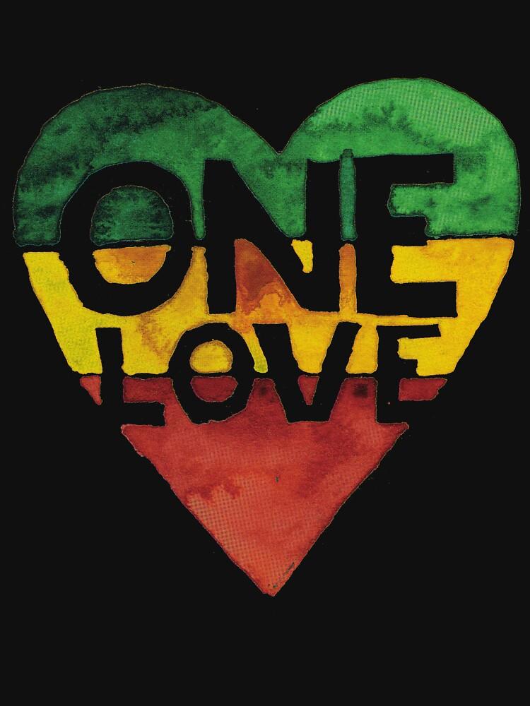 One Love Music Rasta Reggae Heart Peace Roots  by roarr