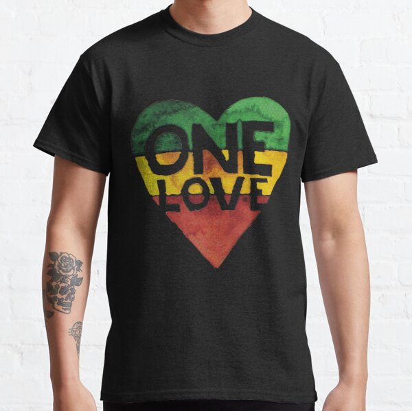 One Love Music Rasta Reggae Heart Peace Roots Camiseta clásica