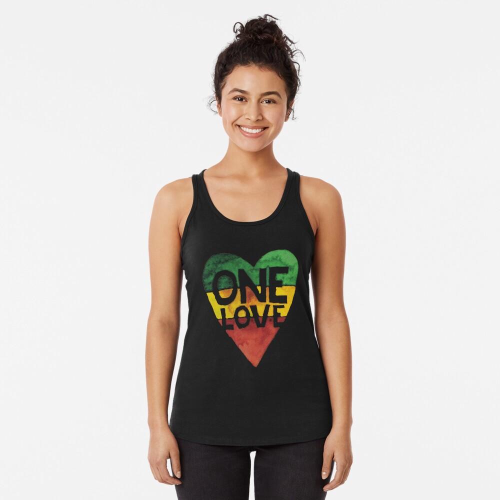 One Love Music Rasta Reggae Heart Peace Roots  Racerback Tank Top