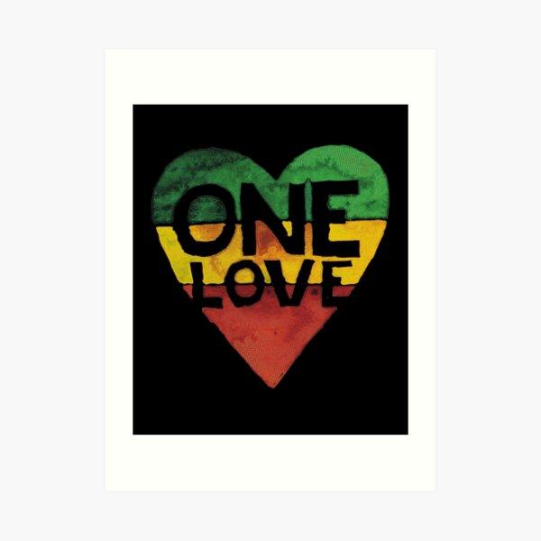 One Love Music Rasta Reggae Heart Peace Roots Lámina artística
