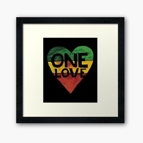 Eine Liebe Musik Rasta Reggae Herz Frieden Wurzeln Gerahmter Kunstdruck