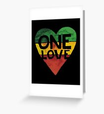 One Love Music Rasta Reggae Heart Peace Roots  Greeting Card