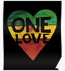 One Love Music Rasta Reggae Heart Peace Roots  Poster