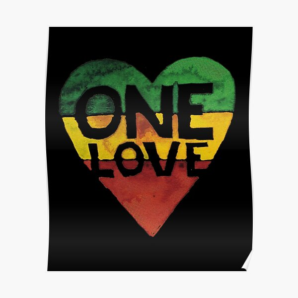 One Love Music Rasta Reggae Heart Peace Roots  Poster