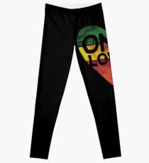 Eine Liebe Musik Rasta Reggae Herz Frieden Wurzeln Leggings