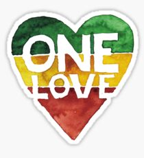 One Love Music Rasta Reggae Heart Peace Roots Sticker