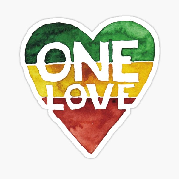 One Love Musique Rasta Reggae Heart Peace Roots Sticker