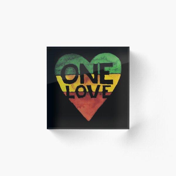 One Love Music Rasta Reggae Heart Peace Roots  Acrylic Block