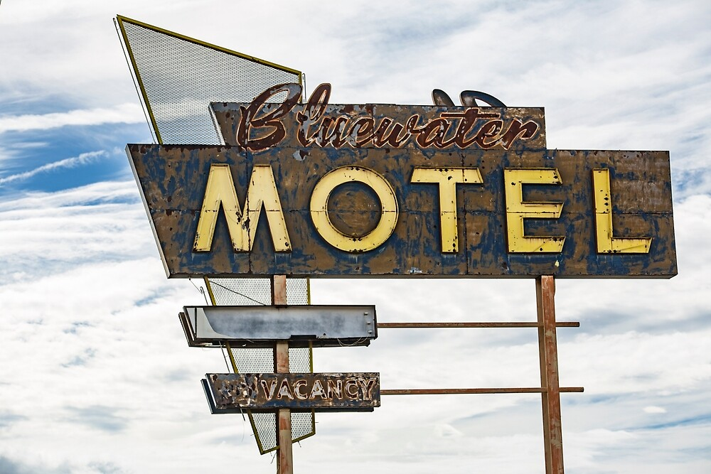 Bluewater Motel Sign, Grants, New Mexico by mattwhitby