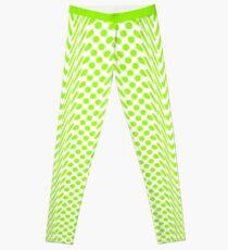 Lime Green Warped Polka Dot (Large Spot) Leggings Leggings