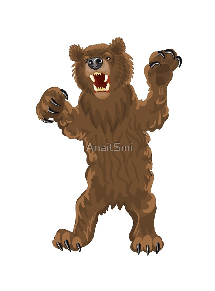 Brown bear stands snarling, aggressive by AnaitSmi