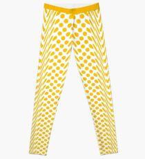 Mustard Yellow Warped Polka Dot (Large Spots) Leggings Leggings